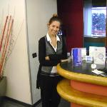 Ms. Nicole at Hotel President´s frontdesk