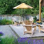 Backyard garden sitting area