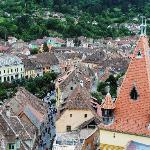 The rooftops of Sighisoara, pictured from the Clock Tower