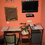 Desk, TV, Refrigerator