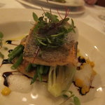 Sea Bass and sweetcorn blini, ginger foam
