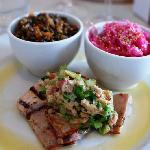 Rabbit loin w/lentils and Asian cole slaw (special that night)