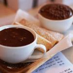 Chocolate Heaven (warm chocolate sauce with shortbread biscuits) and mousse