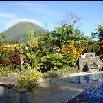 Pool with volcano view