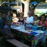 Our celebration dinner at campsite