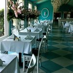 restful, cool aqua & white banquet room