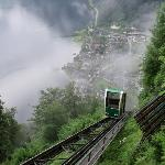 The view from halfway up the funicular