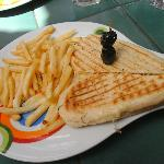 Panini and chips in the cafe over the rd....cut into a love heart <3
