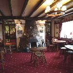 The bar of the Forrester Arms with mouseman furniture