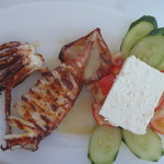 grilled squid with greek salad