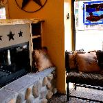 Cabin Coffee Co.: cozy fireplace