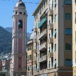 The pink Church tower; use as a landmark and turn uphill here towards Villa