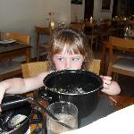 My baby girl eating a big bowl of mussels!
