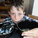 My big boy eating his mussels!