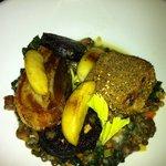 roast pork belly, pulled pork croquet and black pudding on zingy lentil salad. excellent