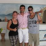 My husband and I with George, hotel owner