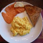 Smoked salmon from local smoke house and scrambled free-range egg.
