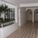 Interior corridor of hotel.