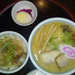 Combination: Ramen, rice, pickles. Delish.
