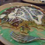 Sorry, not a very great photo, but this was my St. Patrick's Day pancake - so yummy and rich!
