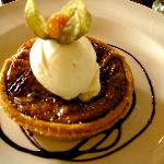 Pecan pie with ice cream (by request instead of cream)