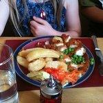 Proper children's portions.  chicken breast goujons in breadcrumbs