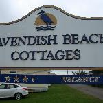 The sign for the Cavendish Beach Cottages
