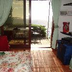 The sleeping area opening onto patio