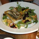 Wild striped bass with chanterelles, beets and purslane