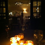 looking from our by now candlelight table back inside