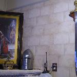 Sword, faux fireplace, knighthood painting