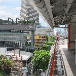 View of hotel (pool and bars building) from BTS station platform