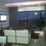 Lounge area and view of the city