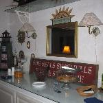 Breakfast buffet bar with Seashells sign