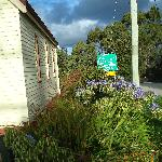 Side of house and road to touristy part of Strahan