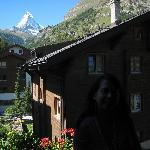 The porch of room 306 has a clear view of the Matterhorn