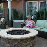 mother chilling by the firepit