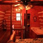 Moonshine cabin upstairs bedroom and bath