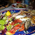 mixed grilled fish platter from restaurant
