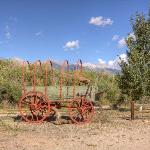 old covered wagon on property