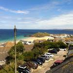 view from attic window of Portmeor Beach