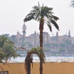 View of Nile/Luxor Temple from breakfast on restaurant patio