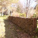 Stone wall at the rear of the property