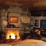 Winvian's Beaver Lodge fireplace view from bed