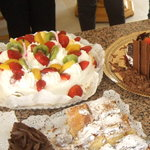 Charlotte cakes. Big fresh cream and fruit, mil folhas cut into squares, last bit of chocolate c