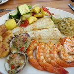 Broiled seafood dinner