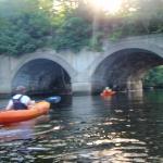 Kayaking on the Mousam River, under an old railroad bridge.