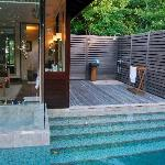 Private pool, bathroom and external shower