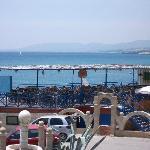the poolside bar and taverna on the beach (awful music tho unless you like Boney M!! LOL)