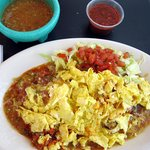Breakfast at Jack-n-Grill with green chile and pork adovado